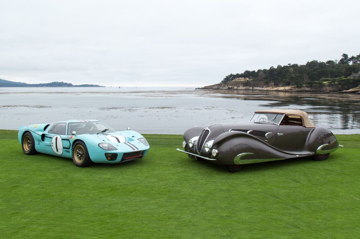 Ford GT40 and 1937 Delahaye 135 M Figoni Falaschi Competition Court