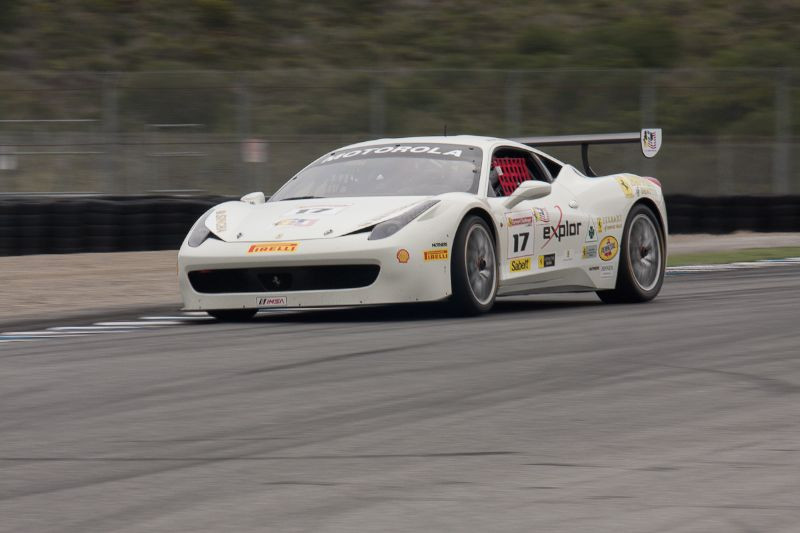 Patrick Byrne puts the power down as he heads down the front straight in the #17 Ferrari 458 EVO