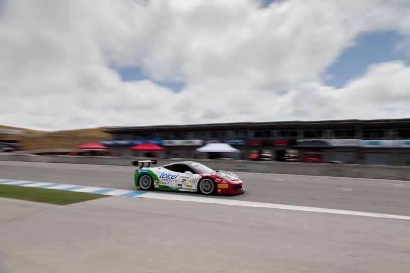 Ricardo Perez races down the front straight in the #2 Ferrari 458 EVO
