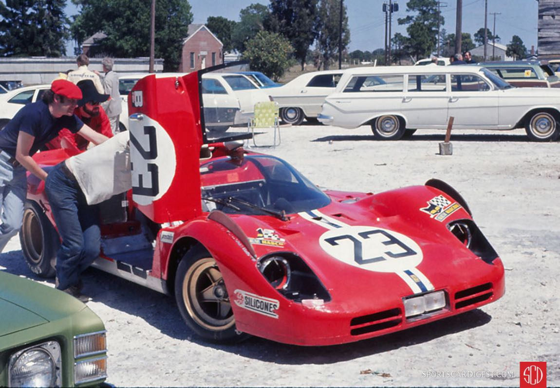 The NART Ferrari 512S that Sam Posey and Ronnie Bucknum would drive getting prepared for the race (Photo: Gene Bussian)
