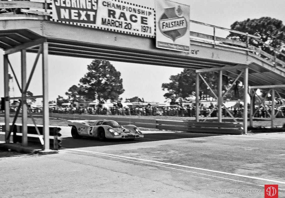 Rodriguez going under the vehicle bridge to Green Park. Note the 2x4's being used for guard rails on the bridge. Sebring was in bad shape by 1971 (Photo: Louis Galanos)