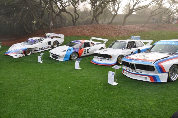 The line-up of BMW race cars driven by David Hobbs