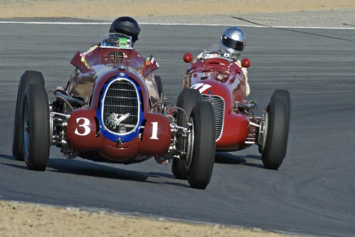 1930 Alfa Romeo P3 - Peter Giddings and 1939 Maserati 4CL - Mark Gilles