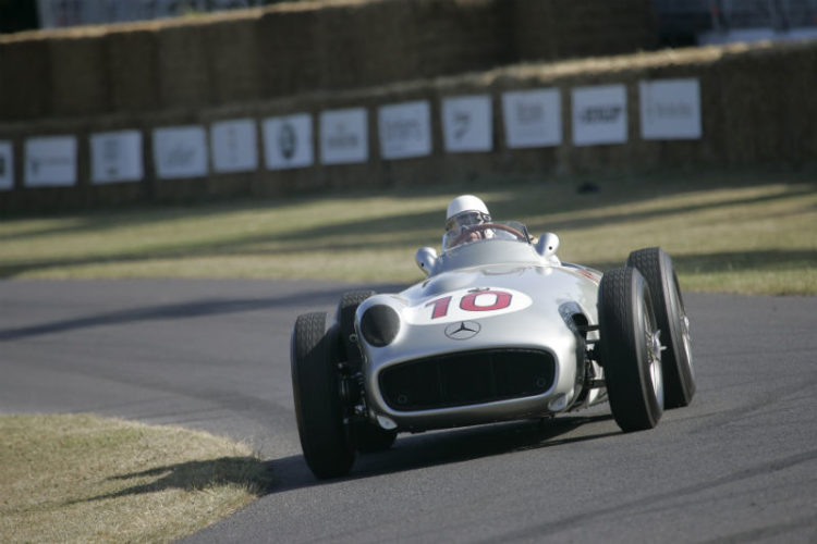 Sir Stirling Moss in the Mercedes Benz W196