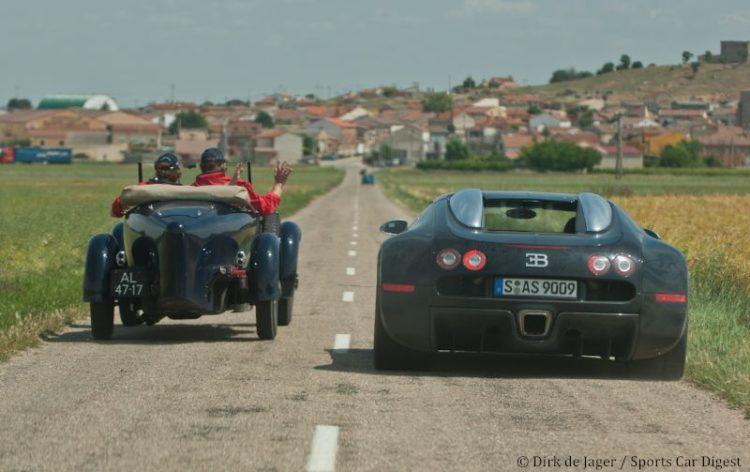 1925 Bugatti T43 sn BC129 passing 2007 Bugatti Veyron
