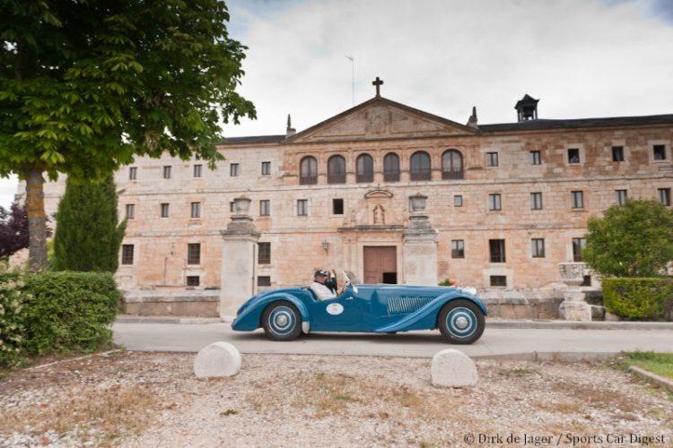 1937 Bugatti T57S Corsica Roadster sn 57531 in front of Monasterio de Duero