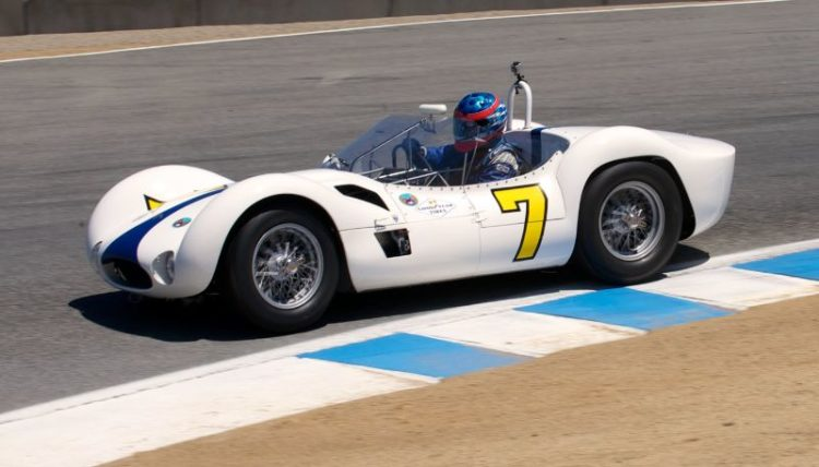 Pre-Reunion Saturday. The bueatiful Maserati Birdcage Tipo 61 driven by Jonathan Feiber.
