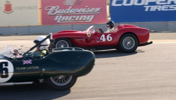 Tom Hart's Lotus Eleven goes inside Cris Cox's Ferrari TR250.