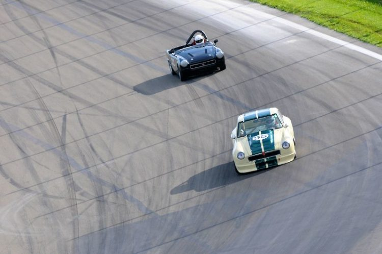 Don Munoz leads the Collier Cup- 1972 MGB-GT.