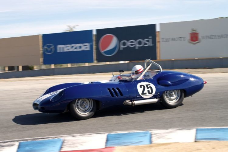 Erickson Shirley's 1959 Lister Costin Chevrolet. This car features a modified Rochester Fuel Injection. Neat.