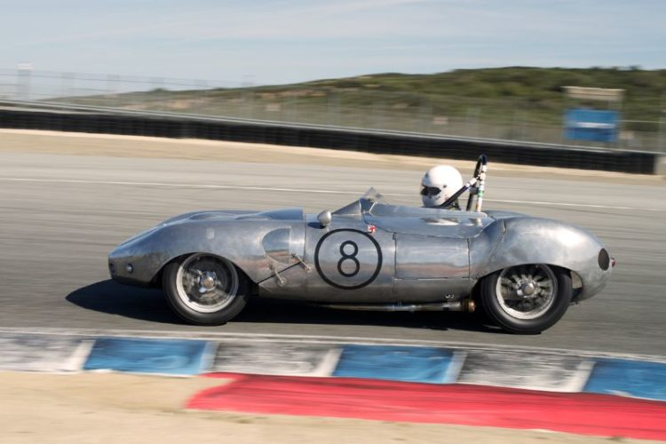 Paul Adams in his Elva Mk.2. This is one of the original factory cars. The bare aluminum body exposes the many patches and modifications made in the cars early life.