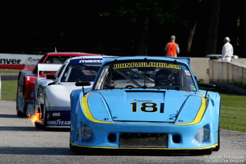 Porsche, fire spitting mazda and Mustang.
