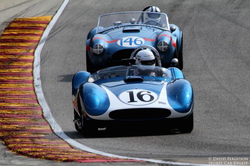 Tony DeLorenzo, 58 Scarab Mk l and Chris MacAllister, 64 AC Cobra heading into turn 5.