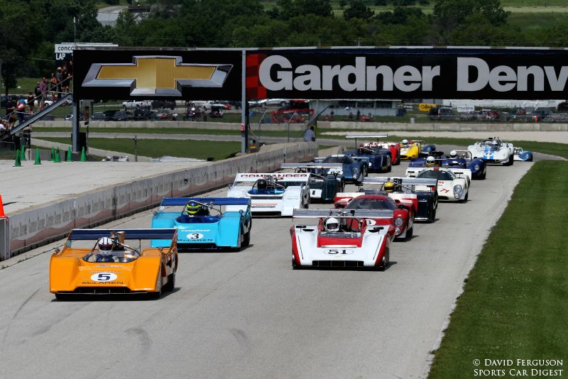 The starter's platform really shakes at the start of the Can-Am race.