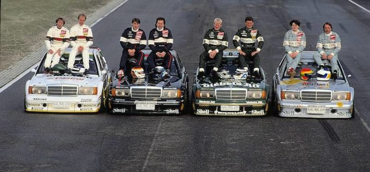 German Touring Car Championship (DTM), 11 October 1992. Klaus Ludwig, 1992 DTM champion, in an AMG-Mercedes 190 E 2.5-16 Evolution II racing tourer. Second and third places went to Kurt Thiim and Bernd Schneider, both also in AMG-Mercedes. (DTM drivers from left: Jacques Laffite, Jorg van Ommen, Bernd Schneider, Klaus Ludwig, Kurt Thiim, Roland Asch, Ellen Lohr and Keke Rosberg).