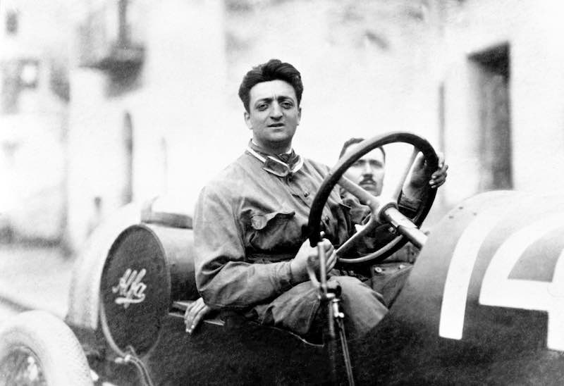 Enzo Ferrari with the mechanic Michele Conti. The car is an Alfa Romeo 20-40 HP. Ferrari's first race with Alfa.