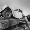 Bugatti Type 57S being loaded onto the train, with the Bugatti Royale following