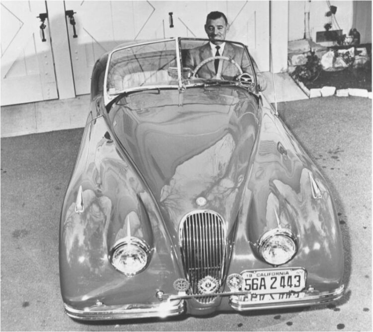 Clark Gable with his 1949 Jaguar XK120 Roadster