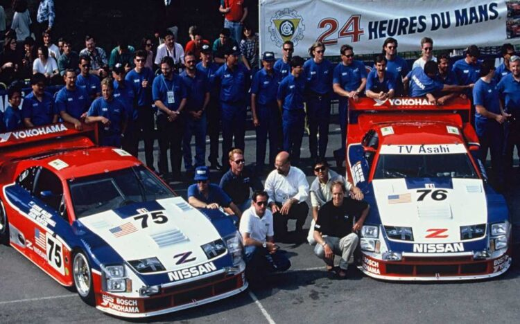 The Cunningham Racing team poses before the 24 Hours of Le Mans, 1994.