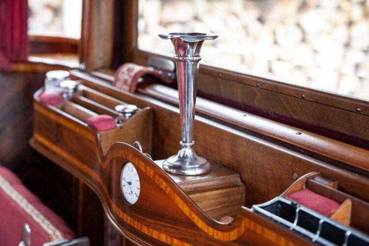 interior of 1911 Rolls-Royce 40/50hp Silver Ghost Tulip-Backed semi open drive Pullman Limousine