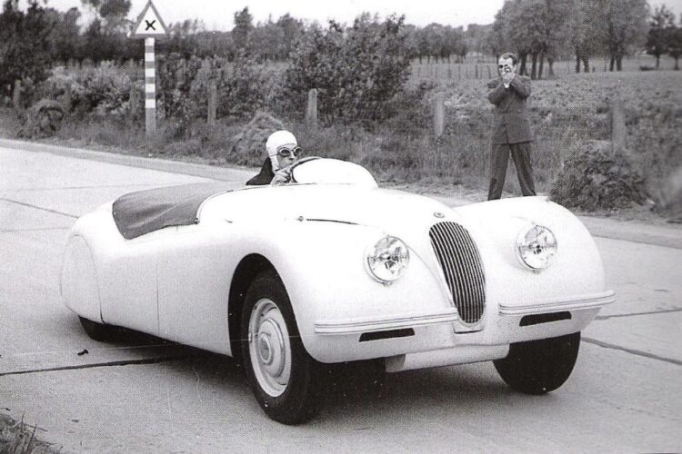 Ron Sutton at the wheel of the 1949 Jaguar XK 120