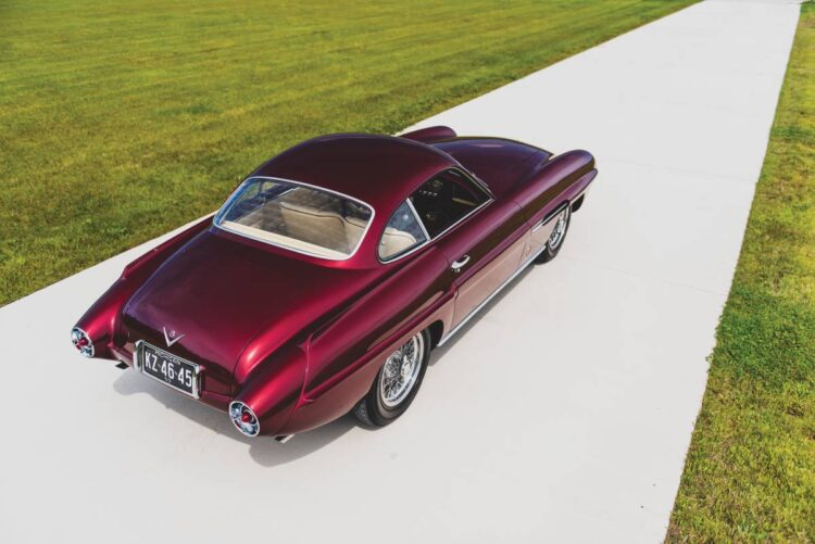 birdseye view of the 1953 Fiat 8V Supersonic by Ghia