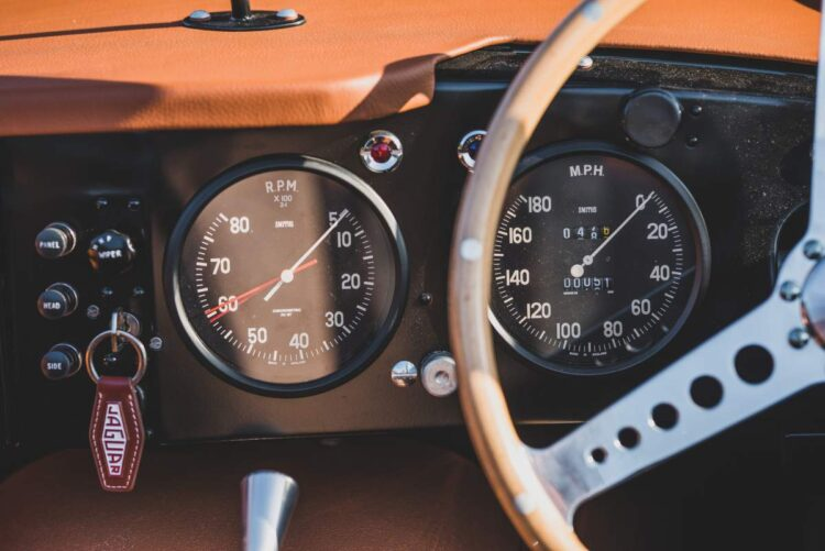 dashboard of the 1957 Jaguar XKSS Continuation