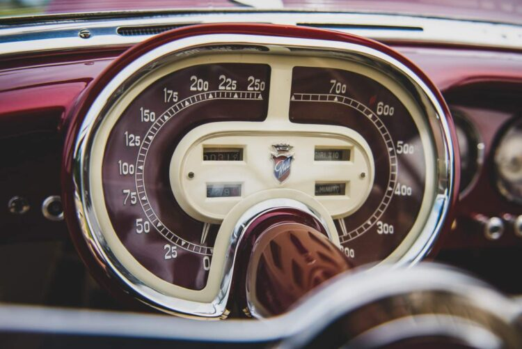 dashboard of the 1953 Fiat 8V Supersonic by Ghia