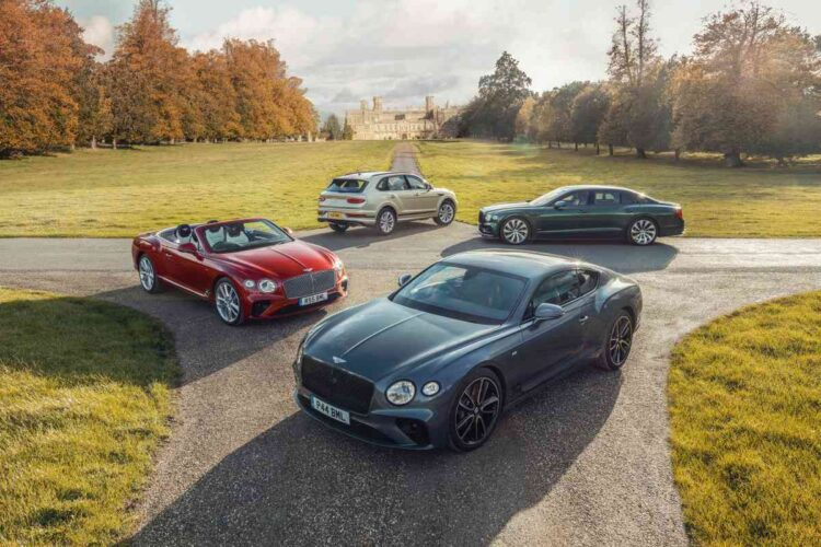 Bentley cars outside castle ashby