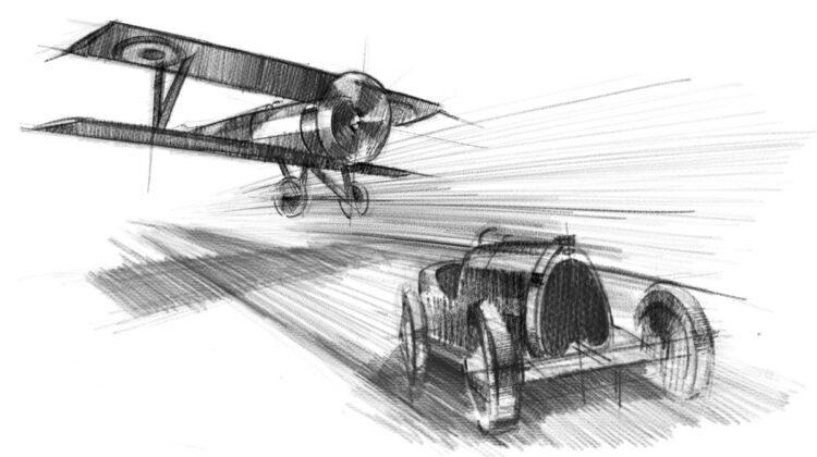 Drawing of Bugatti Type 13