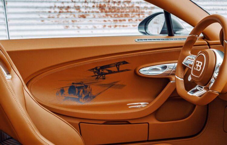 hand-sketched racing scene in interior of Bugatti