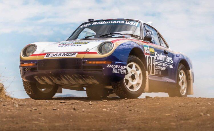 Front of Porsche 959 Paris-Dakar rally car
