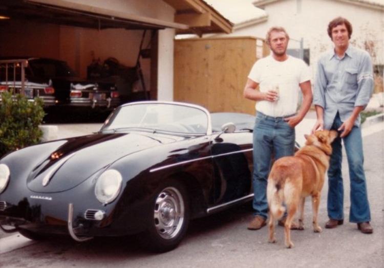 Bruce Meyer handing the 1958 Porsche 356 Speedster to Steve McQueen