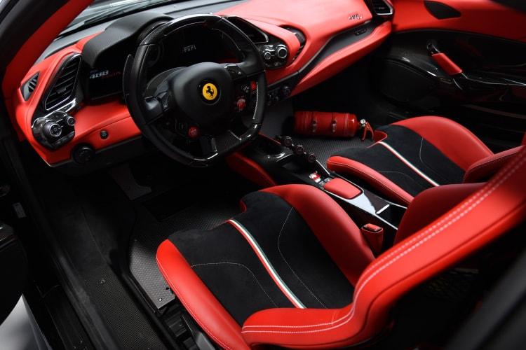 Interior of Ferrari 488 Pista