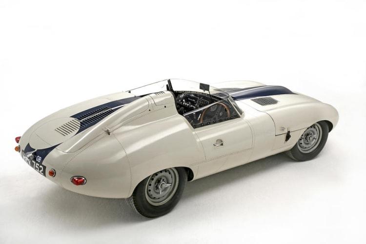 side of 1960 Jaguar E2A.