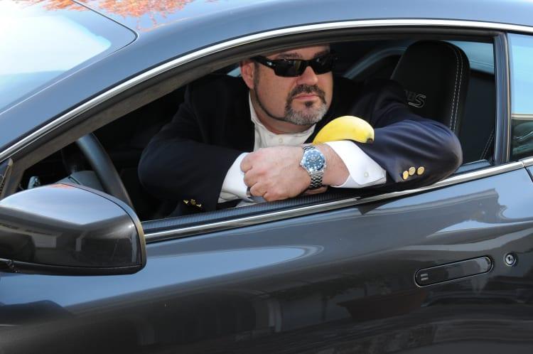 Watch, banana and an Aston Martin