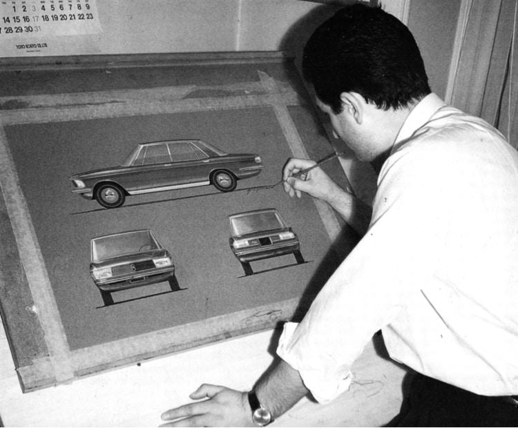 Giorgetto Giugiaro sketching the Mazda Luce