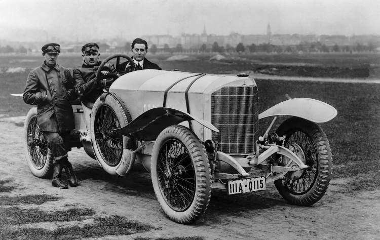 Behind the wheel of the Mercedes 28/95 hp Sport is Max Sailer