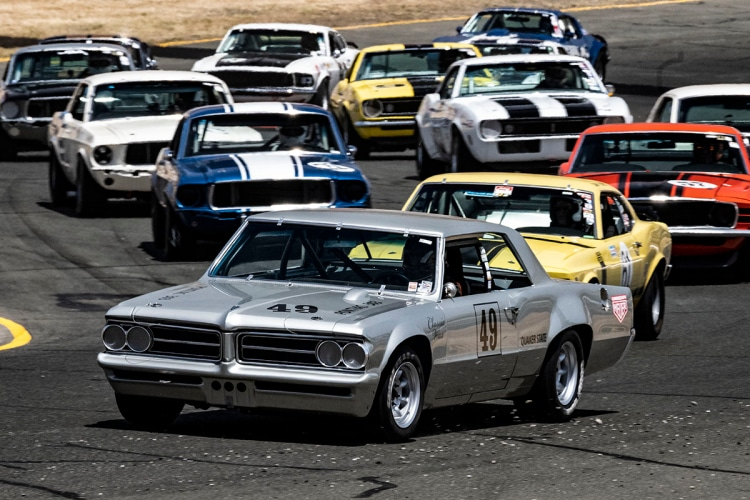 Mid race Saturday. #49-John Hildebrand - 1964 Pontiac Tempest