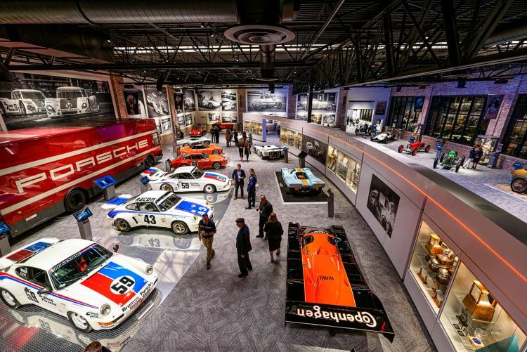 Porsches everywhere