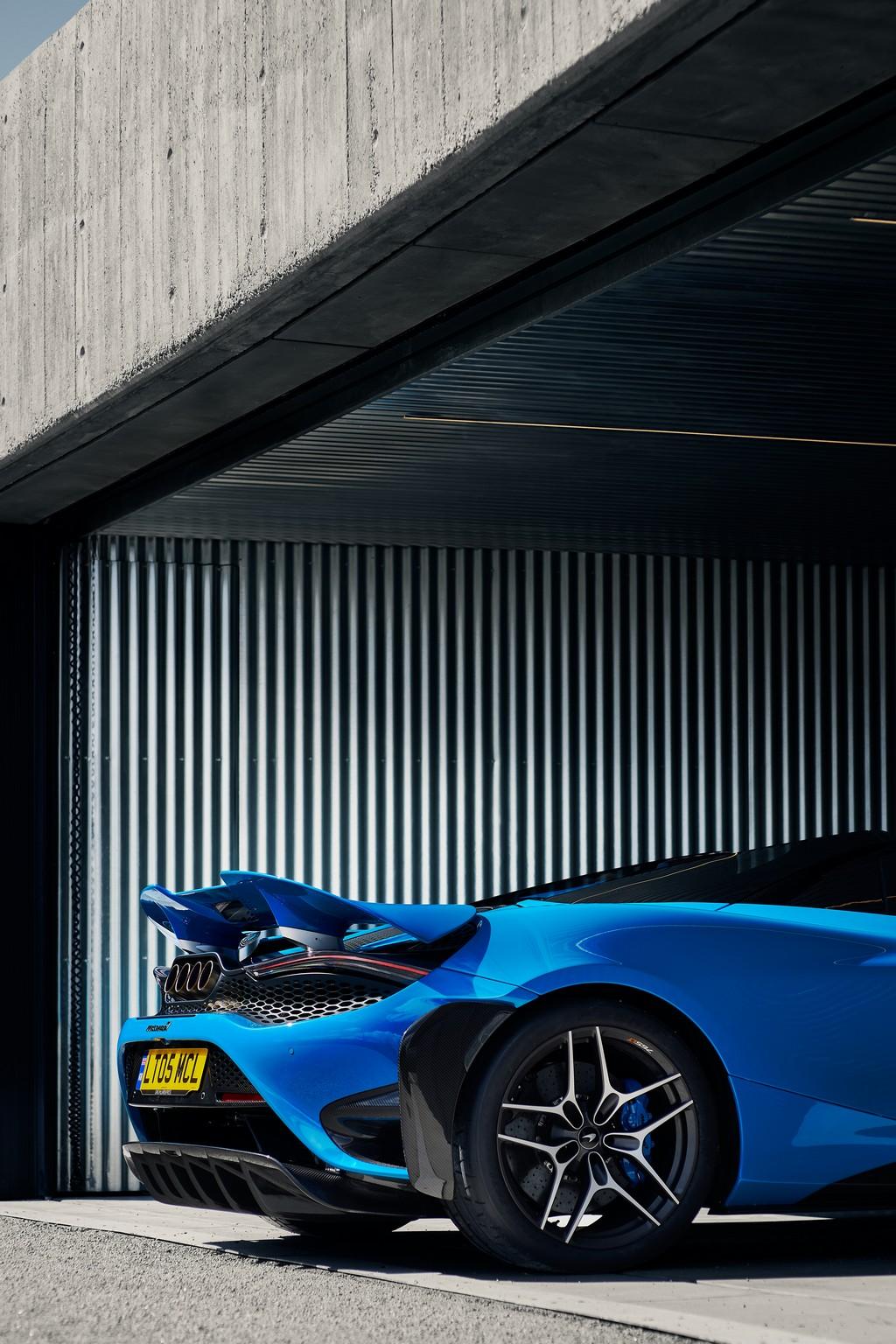McLaren 765LT Spider half-in garage