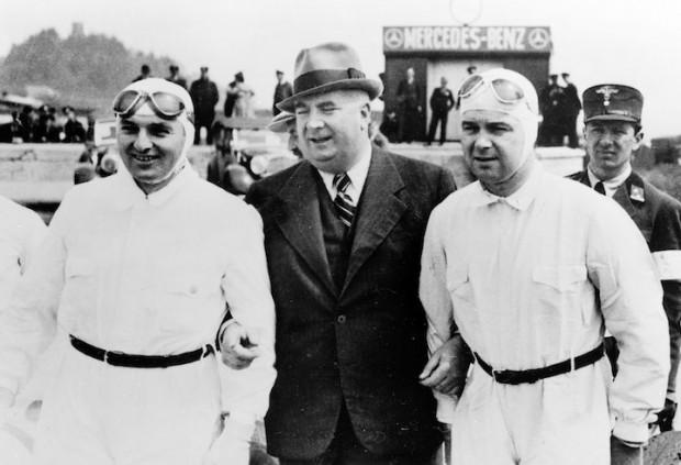 Hermann Lang, racing director Alfred Neubauer and Rudolf Caracciola