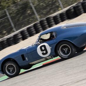 "Rob Walton ""three wheels"" his 1965 Cobrqa Daytona Coupe down the Corkscrew Saturday afternoon. ©2021 Dennis Gray"