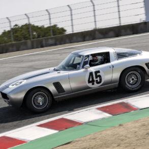 Steven Schuler's 1965 Iso Rivolta Grifo GT Lusso 5360 over the top of the Corkscrew Saturday. ©2021 Dennis Gray