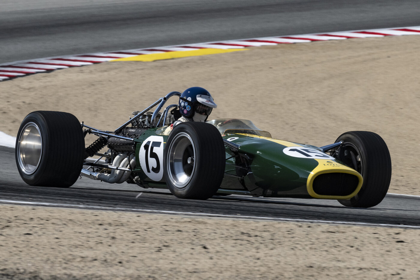 Ex-Jimmy Clark 1967 Lotus 49 3000 driven by Alex MacAllister here exiting turn five Saturday aftrnoon. ©2021 Dennis Gray