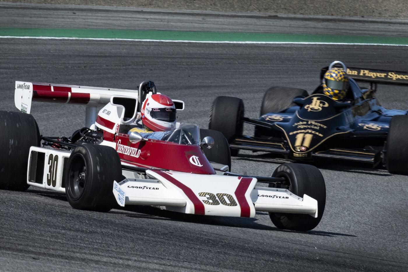 Danny Baker's 1976 McLaren M23 3000 in turn two Sunday. ©2021 Dennis Gray