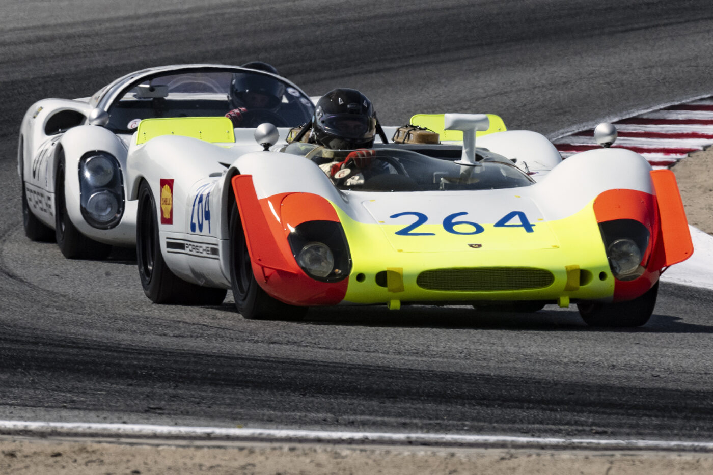 Richard Griot's 1969 Porsche 908 2997 accelerates out of turn five. ©2021 Dennis Gray