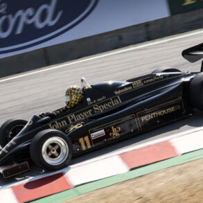 1982 Lotus 91/8 3000 approaches turn eight the Corkscrew. ©2021 Dennis Gray