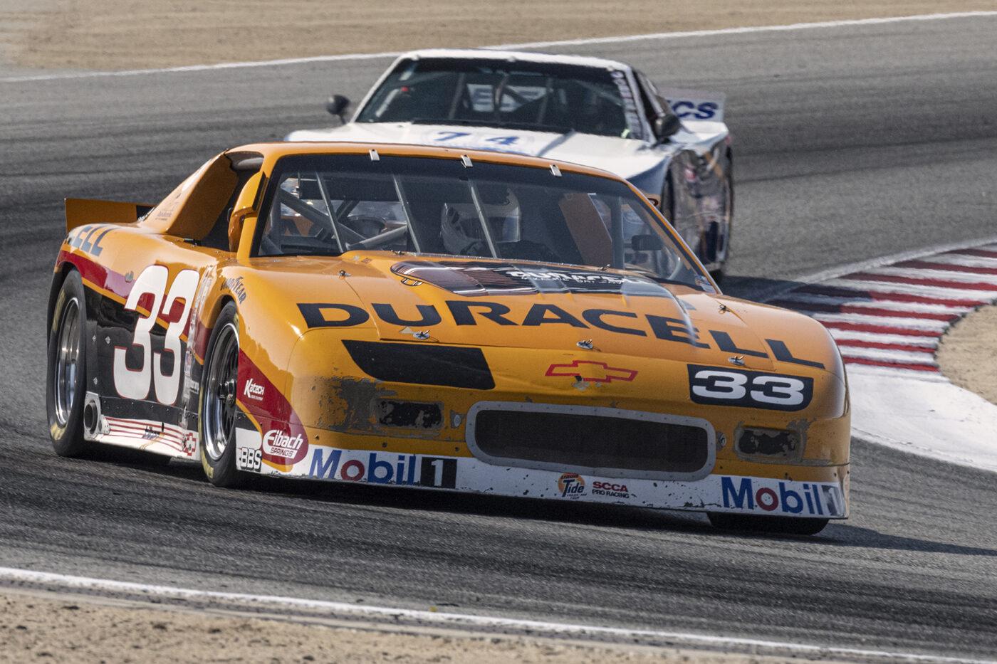 Bill Ockerlund's 1991 Chevrolet Camaro 5700 exits turn five late Saturday afternoon. ©2021 Dennis Gray