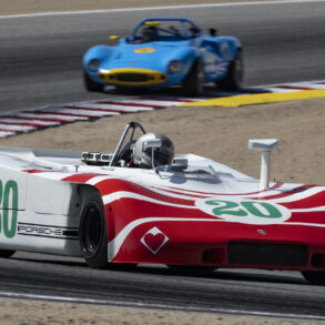 Cameron Healy's 1970 Porsche 908/3 3000 in turn five Saturday. ©2021 Dennis Gray